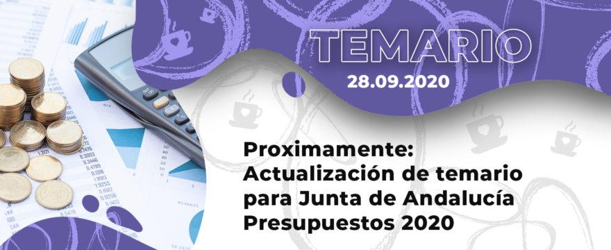 Próximamente: Actualización de temario para Junta de Andalucía Presupuestos 2020